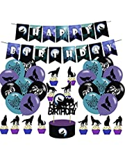 Wolf Party DecorationWolf Party Theme Banners Latex Balloons Cupcake Toppers for Children and Adults Birthday Party Decorations