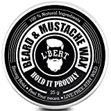 L'BERT Paraben and Sulphate-Free Extra Strong Hold Beard and Mustache Wax Natural, 25