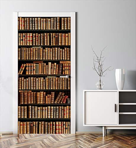 MyMaxxi | Tür verschönern mit Türtapete Selbstklebend 90x200 Bücherregal | Türfolie Poster Tapete | Selbstklebende Türaufkleber XXL Aufkleber Folie| Türposter Mädchen und Junge