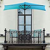 Pure Garden 50-LG1037 Half Round Patio Umbrella with Easy Crank, 9 ft, Bright Blue