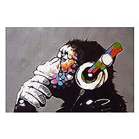 バンクシー ストリート I Monkey Music バンクシー ストリート I Monkey Music木製ジグソーパズル1000ピース大人のための風景ジグソーパズルエンターテインメントDIYおもちゃの創造的なギフトの家の装飾(75X50cm)