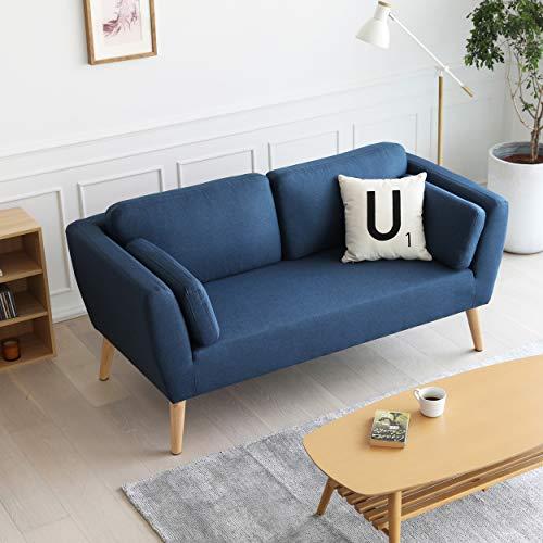 Mc Haus EVY - Sofá nórdico 2 plazas Cómodo color Azul marino Tapizado en tela, diseño Nórdico 2 cojines, Salón Comedor 160x80x76cm