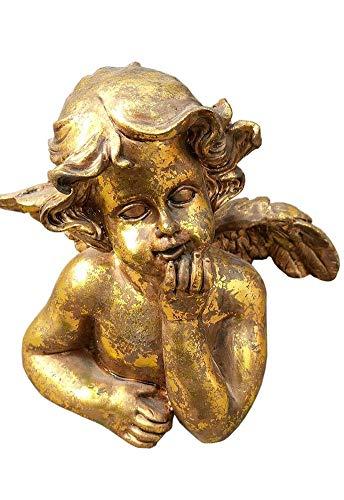 IUYJVR Estatua del ángel del jardín, decoración del césped del arbolado del jardín de la Escultura del pequeño ángel Dorado de oración Vintage