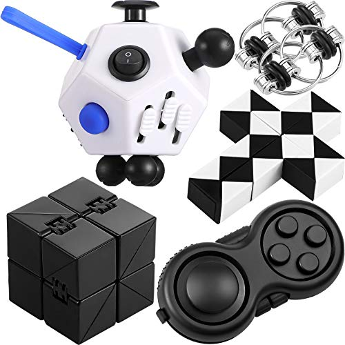 5 Pieces Sensory Fidget Toys Set Including Infinity Cube 12 Sided Fidget Toy Cube Key Flippy Chain Fidget Pads Wacky Tracks Handheld Mini Gadget for Teens Adults Stress and Anxiety Relief Kill Time