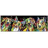 Sin marco Cuadro Modernos 4 perros abstracto Lienzo Pintura Póster Cartel HD Impresión de Imagen cuadros decorativos Decoración de la pared del dormitorio de la sala de estar 50 * 150 cm