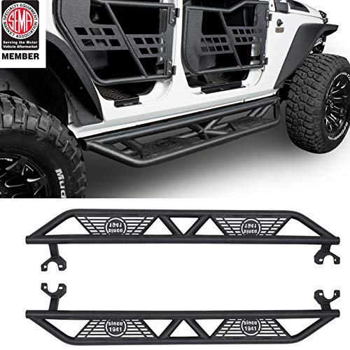u-Box 4-Door Jeep Side Step Running Board w/Star Cut for Jeep JK Wrangler Unlimited 2007-2018
