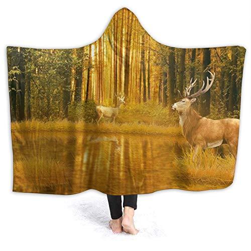 KIMDFACE Manta con Capucha,Bosque Tema de Caza de Ciervos Otoño Naturaleza Vida Silvestre Animal Alce Cornamenta Temporada de Caza Puesta de Sol Reflejo Doe Woods Fawn,Suave Siesta60x50