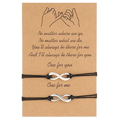 Xinzistar 2 Pcs Friendship Bracelets Couple Bracelets, Pinky Promise Relationship Bracelets Bond Touch Bracelet Long Distance Gifts for Women Girls (Forever)