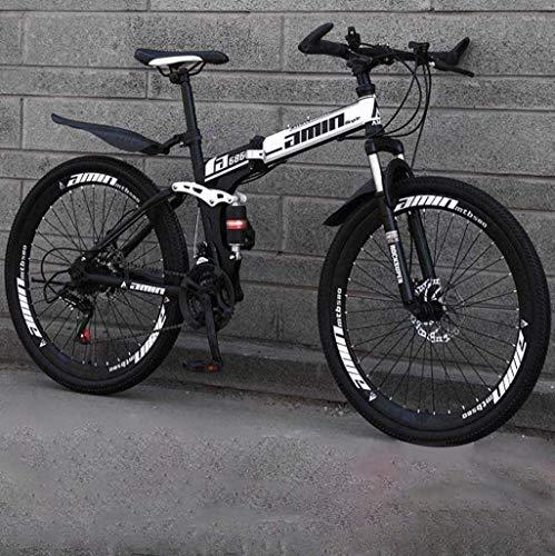 Bicicletas bicicleta de 26 pulgadas de bicicletas acero de alto carbono Softtail bicicletas ligero plegable bicicleta con asiento ajustable doble freno de disco primavera Tenedor 5-25 (Color: C1, Tama