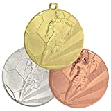 pokalspezialist 10 Stück Medaille Gold Fußball aus Stahl 50 mm x 3 mm