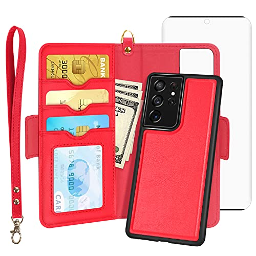 """Skycase Galaxy S21 Ultra Case, Samsung S21 Ultra Wallet Case with Screen Protector,[2 in 1] Magnetic Detachable Flip Folio Wallet Case with Card Slots for Samsung Galaxy S21 Ultra 6.8"""" 2021,Red"""