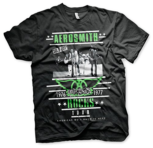 Aerosmith World Tour 76 Joe Perry Steven Tyler Oficial Camiseta para Hombre (Small)