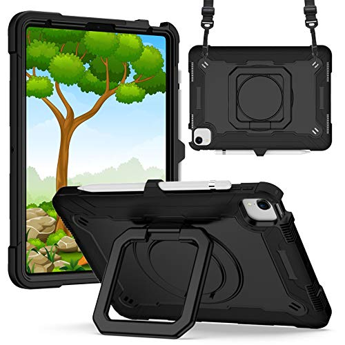 KATUMO Funda Compatible con iPad Air 4 10,9 Pulgadas, Funda para iPad 10,9 2020 (Soporte Giratorio de 360 °, Correa y portalápices) Funda Protectora a Prueba de Golpes para niños,Negro