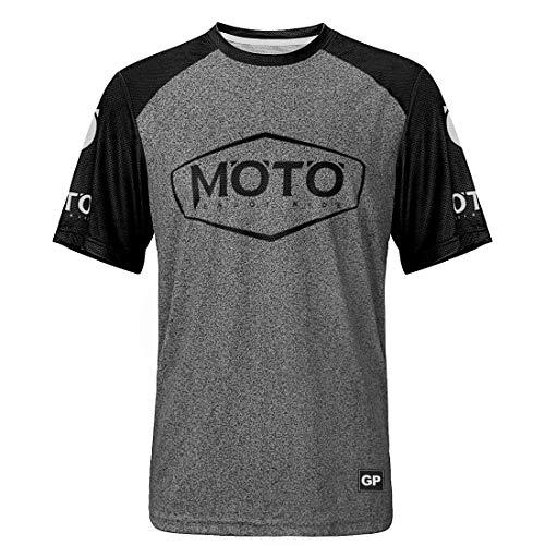 Herren-Mountainbike-Radtrikot, schnelltrocknend, atmungsaktiv, kurzärmlig XL Schwarz-Moto