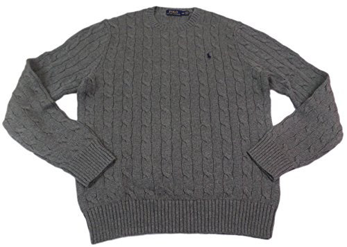 Polo Ralph Lauren Cotton Cable Knit Crewneck Sweater-XL-MIDGREYNAVY