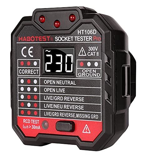 Tester di Presa, SP-Cow con LED display di tensione 48-250V Tester di uscita Presa di corrente Circuito elettrico, CAT II 300V, Tester per circuiti elettrici, RCD
