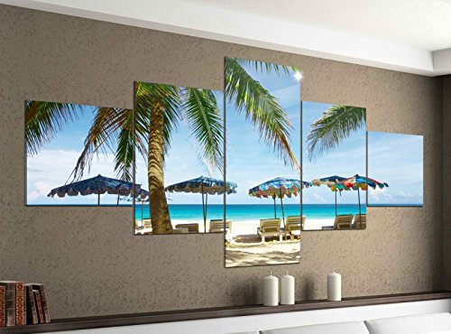 Acrylglasbilder 5 Teilig 200x100cm Meer Strand Palme Stuhl Sand Urlaub Druck Acrylbild Acryl Acrylglas Bilder Bild 14F292, Acrylgröße 11:Gesamtgröße 200cmx100cm