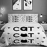 Miwaimao Bedding Bettwäsche-Set,Text aus runden geformten niedlichen Katzen mit kleinen...