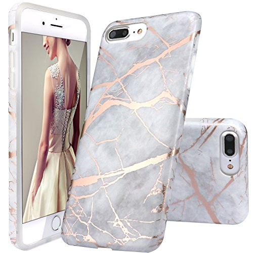 DOUJIAZ iPhone 8 Plus Hülle,iPhone 7 Plus Hülle, Grau Rose Gold Marmor Serie TPU Silikon Schutz Handy Hülle Handytasche HandyHülle Etui Schale Case Cover Tasche Schutzhülle für iPhone 7 Plus/8 Plus