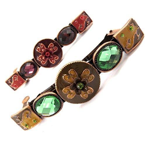 Les Trésors De Lily [L6264] - Set de 2 barrettes 'Altaï' vert rouge