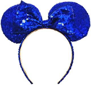 WLFY Mickey Mouse Minnie Mouse Sequin Ears Headbands Butterfly Glitter Hairband (Sky Blue)