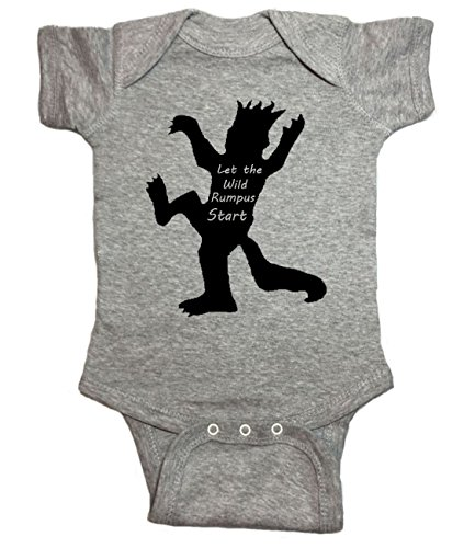 Where The Wild Things are Baby One Piece Wild Rumpus Bodysuit (6 Month, Heather Gray)
