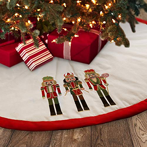 Meriwoods Christmas Tree Skirt 48 Inch, Large Embroidered Nutcracker Padding Tree Collar, Country Rustic Indoor Xmas Decorations, Red & White