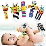 KNMY 5PCS Babyrasseln, Spielzeug für Handgelenke und Socken, Weiches Handrassel-Shaker-Spielzeug, Lernspielzeug für Neugeborene, für Mädchen und Jungen 0-12 Monate