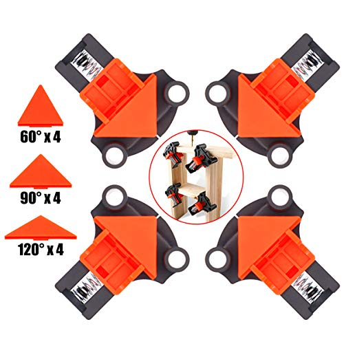 Baymyer Corner Clamp Right Angle Clamp, 90 & 60 & 120 Degree Angle Clamp - 4 PCS Adjustable Right Angle Clamp Tool for Woodworking, Welding, Drilling, Making Cabinets, Photo Framing