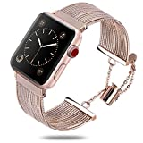 Band for iWatch Series 6 5 4 3 2 1 Stainless Steel Fashion Jewelry Replacement Dressy Bracelet 38mm 42mm Smart Watch Accessories (SS012-Rose Gold, 42MM)