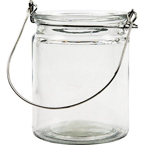 Creativ 55840 Glas Metall Kerze Halter mit Metall Griff Einstellen, 8cm x 10cm, Transparent, 12 Stück