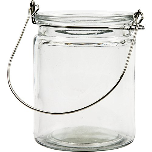 Creativ Klarglas-Kerzenhalter mit Metallhenkel, 8x10cm, 12 Stück