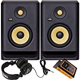 KRK RP5 Rokit 5 G4 Professional Bi-Amp 5' Powered Studio Monitor Pair + TH02 Headphone + Magnet Phone Holder