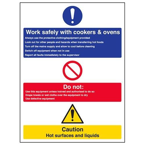 VSafety werk veilig met Cookers & Ovens teken - 300mm x 400mm - Zelfklevende Vinyl