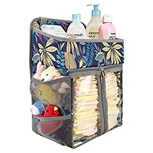 BAGLHER Hanging Diaper Organizer,Baby Diaper Organizer is Suitable for Hanging on Diaper Table, Nursery, and All Cribs. Baby Supplies Storage Diaper Rack, Diaper Stacker.Floral