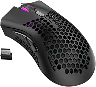 kelebin Lightweigh Honeycombs Design Rechargeable Wireless Gaming Mouse with USB Receiver RGB Backlight