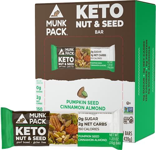 Munk Pack Keto Nut & Seed Bar, 0g Sugar, 2g Net Carbs, Keto Snacks, No Added Sugar, Plant Based, Gluten Free, Soy Free (Pumpkin Seed Cinnamon Almond 12 Pack)