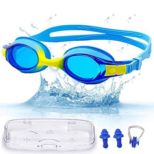 Taucherbrille Kinder, Schwimmbrille Kinder Geschenk Anti Fog UV Schutz Wasserabdichtungen, Taucherbrille Kinder 3 Jahre 4 Jahre zu 12 Jahre Geeignet, Mit Nasenklammern Schwimmen & Ohrstöpsel