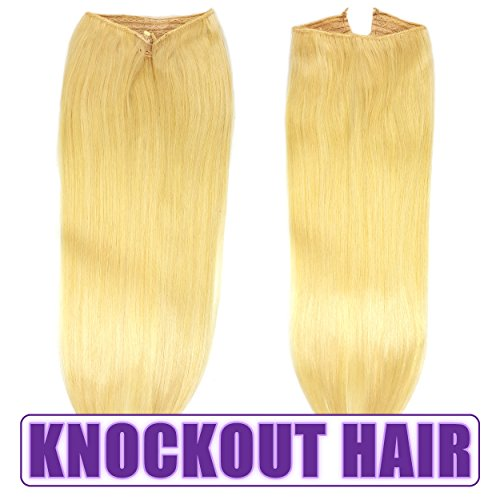 Fits like a Halo Hair Extensions 20'-22' (#613) - No Clips, No glue, No Tape, No Damage! It's so EASY! 100% Remy Premium Couture Grade AAAAA Human Hair! on the Miracle Wire! (Light Blonde - #613)