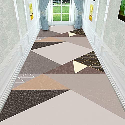 ZYUN Alfombra geométrica gris blanco negro cuadrado alfombras corredor para pasillos escaleras, piso de madera antideslizante alfombra extra larga