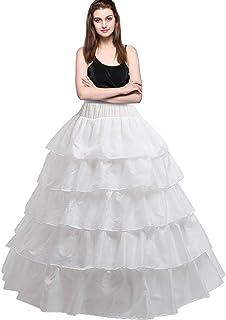 Dolloly Women's 4 Hoop 5 Ruffles Layers Petticoat Skirt Underskirt for Wedding Bridal Ball Gown Dress White
