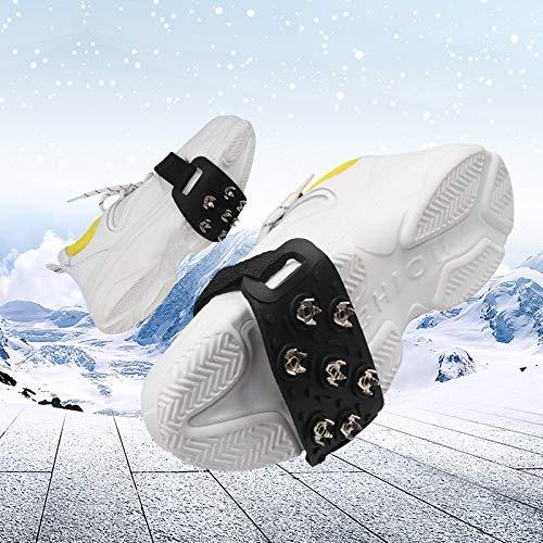 Alecony Steigeisen,7-Punkt-Stollen Schuhkrallen Anti Rutsch Sohlen Schuhspikes für Walking Wandern Klettern Freien Bergsteigen Winterwandern Eisfischen Schneeschuhe,Anti-Rutsch Matte Überschuh
