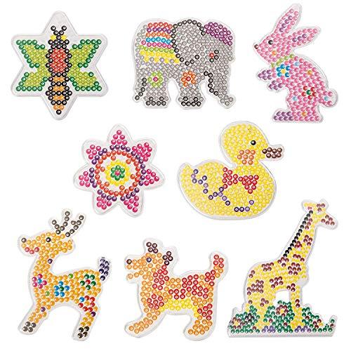 QIXINHANG 8X Bügelperlen Platten Stiftplatten Transparent Tiere Steckplatten mit bunten Papiervorlagen (MEHRWEG)