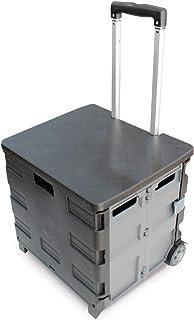 35kg Folding Shopping Trolley Storage Boot Cart Box (Black/Grey)