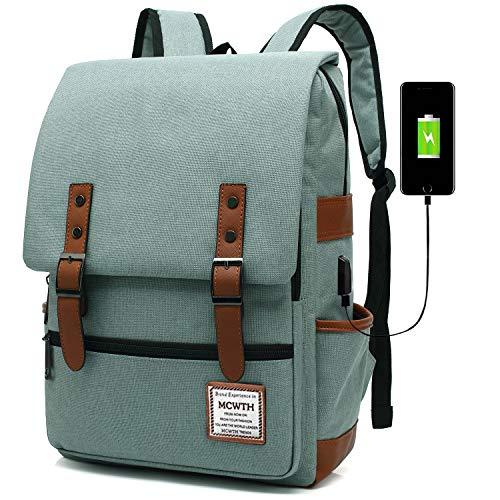 MCWTH Mochila Portátil Casual del Trabajo Diario Camping Viaje, Mochila para Portátil Multiusos Daypacks con Puerto de Carga USB (Verde)