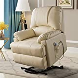 Lovinouse Electric Power Recliner Lift Elderly Pregnantly Chair Sofa with Heat and Massage, Breath Leather Ergonomic Lounge Chairs Up to 331 Lbs with Side Pocket and Remote Controls (Beige)