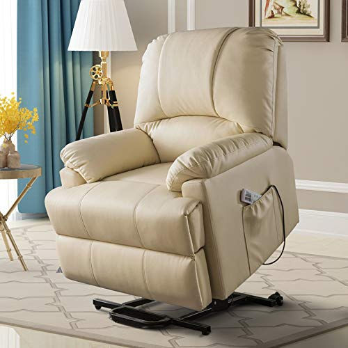 Power Recliner with Heat and Massage, Breath Leather Ergonomic Lounge Chairs Up to 331 Lbs