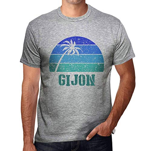 One in the City Hombre Camiseta Vintage T-Shirt Gráfico GIJON Sunset Gris Moteado