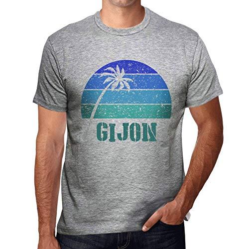 One in the City Hombre Camiseta Vintage T-Shirt Gráfico GIJON Sunset Gris Moteado