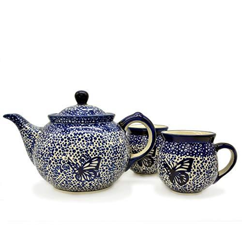 Bunzlauer Teeservice Kanne 800 ml mit 2 Kugelbechern 200 ml (Blauer Falter, 800 ml)
